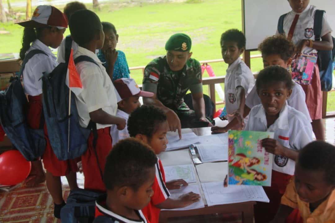 Peduli Pendidikan Anak Perbatasan, Yonif Pr 328 Resmikan Pondok Alam Dirgahayu Di Mosso