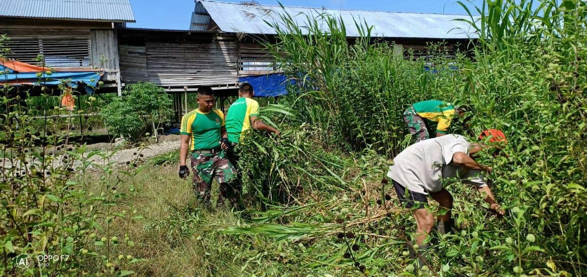 Penanaman Lahan Tidur Di Sanggaria, Satgas Yonif Pr 328 Tingkatkan Ekonomi Warga Perbatasan