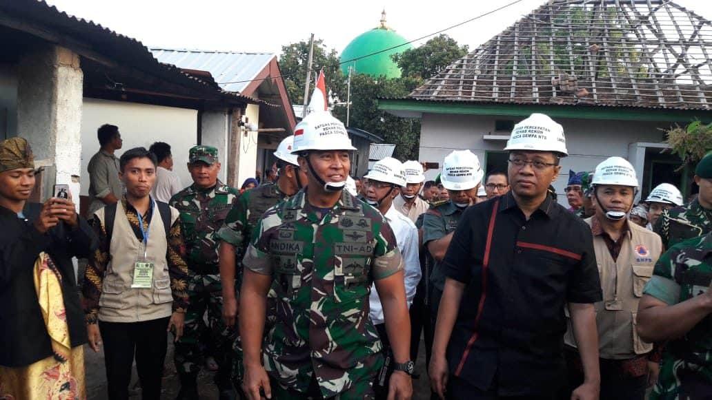 Kasad : Tni Ad Siap Bantu Pemda Ntb Sukseskan Rehabilitasi Dan Rekonstruksi Rumah Pasca Gempa.