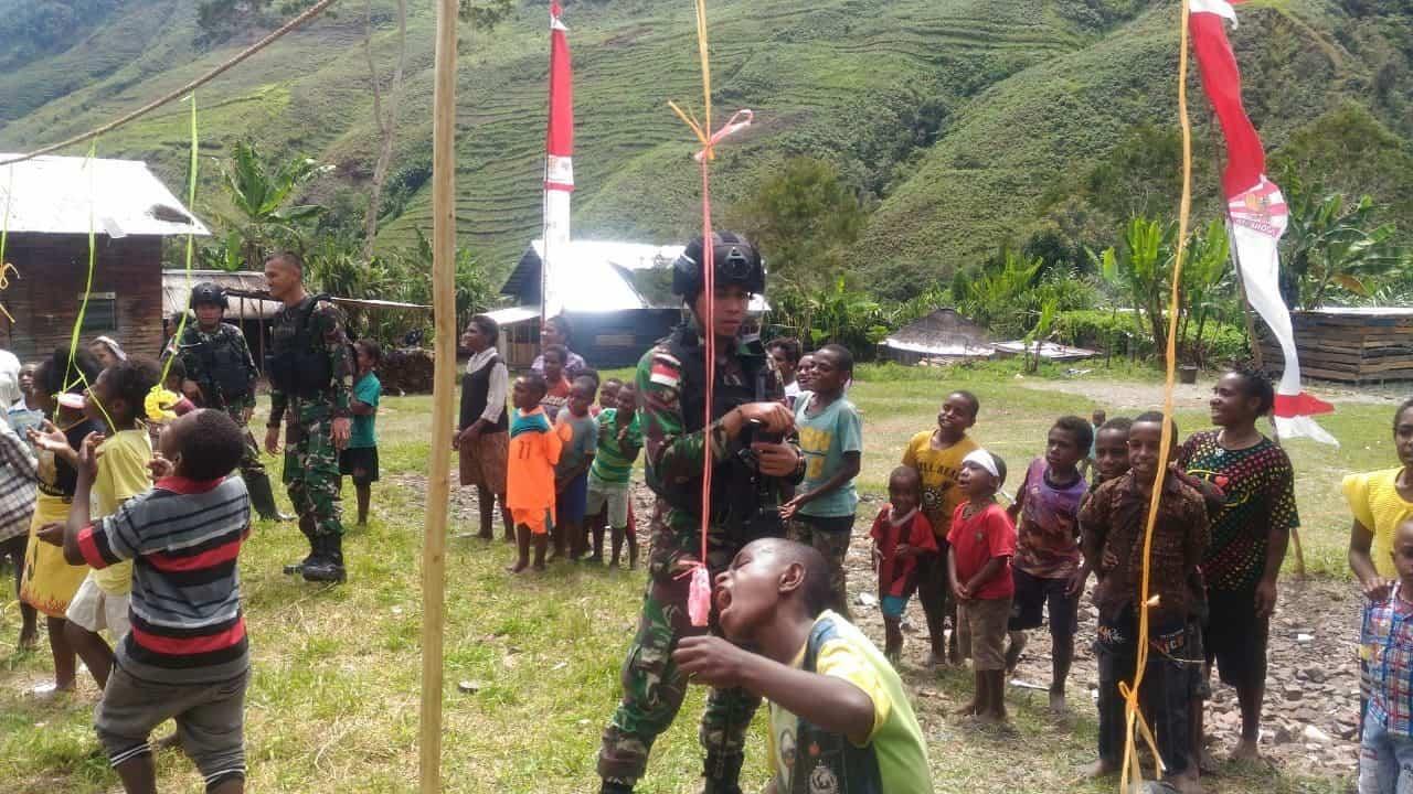 Meriahkan HUT ke-74 Kemerdekaan RI di Puncak Jaya, Satgas Yonif 514 Gelar Lomba Anak