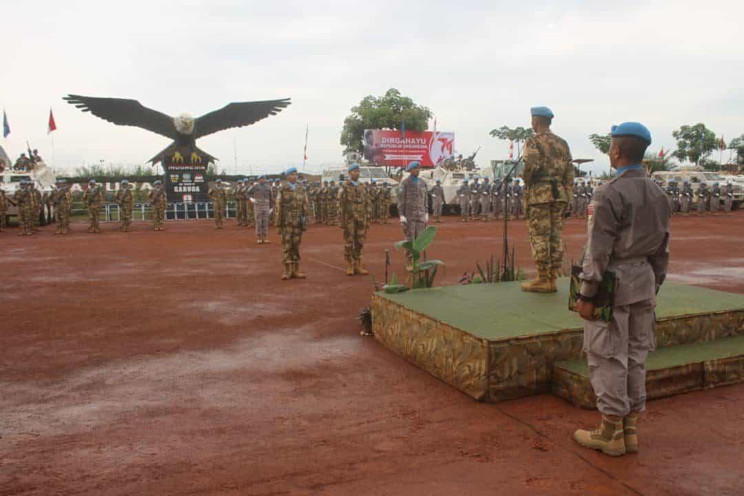 Peringati HUT ke-74 Kemerdekaan RI, Satgas TNI Konga dan MINUSCA CAR Gelar Upacara Gabungan