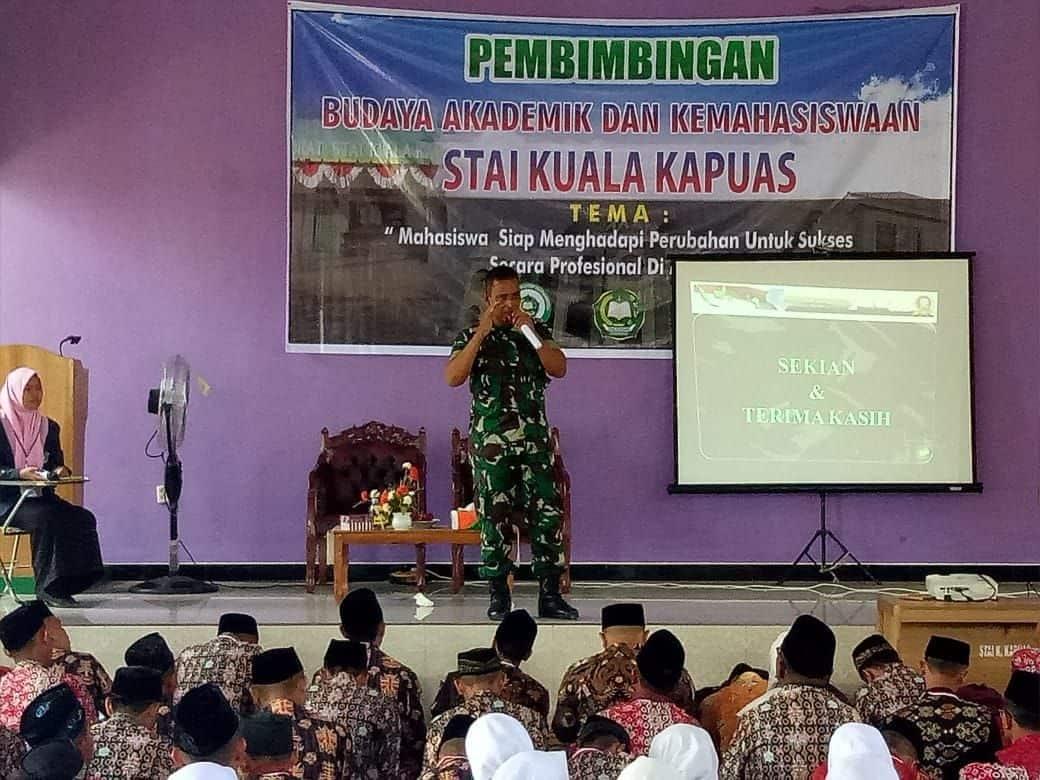 Tanamkan Cinta Tanah Air, Kodim 1011/Klk Berikan Wasbang pada Mahasiswa Baru STAI Kapuas