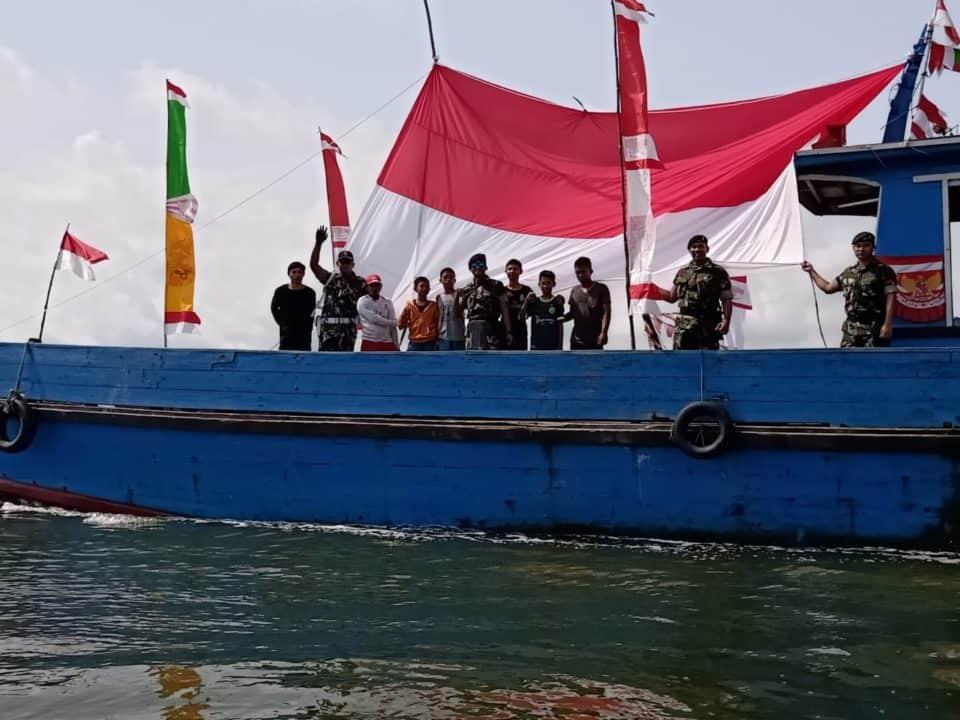 Cinta Tanah Air, Satgas Pamtas Yonif 600 Gelar 30 Kapal Pawai Bendera