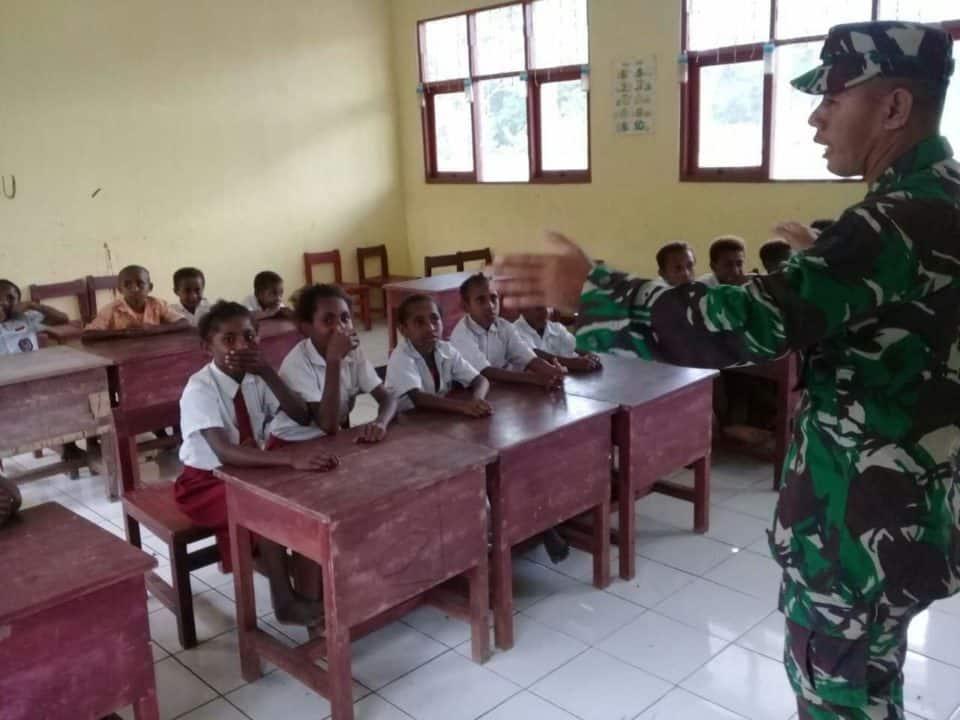 Lomba Wasbang Yonif 328 Tanamkan Jiwa Nasionalisme Pelajar SD Kriko