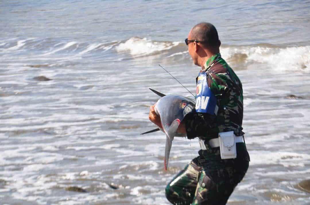 Terdampar di Pantai Klatak, Seekor Lumba-Lumba Diselamatkan Serda Muhtar