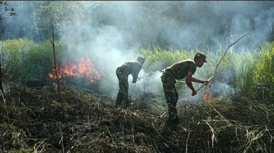 Hampir Melalap Sekolah, Kebakaran Lahan Kebun di Padamkan Satgas Yonif 713