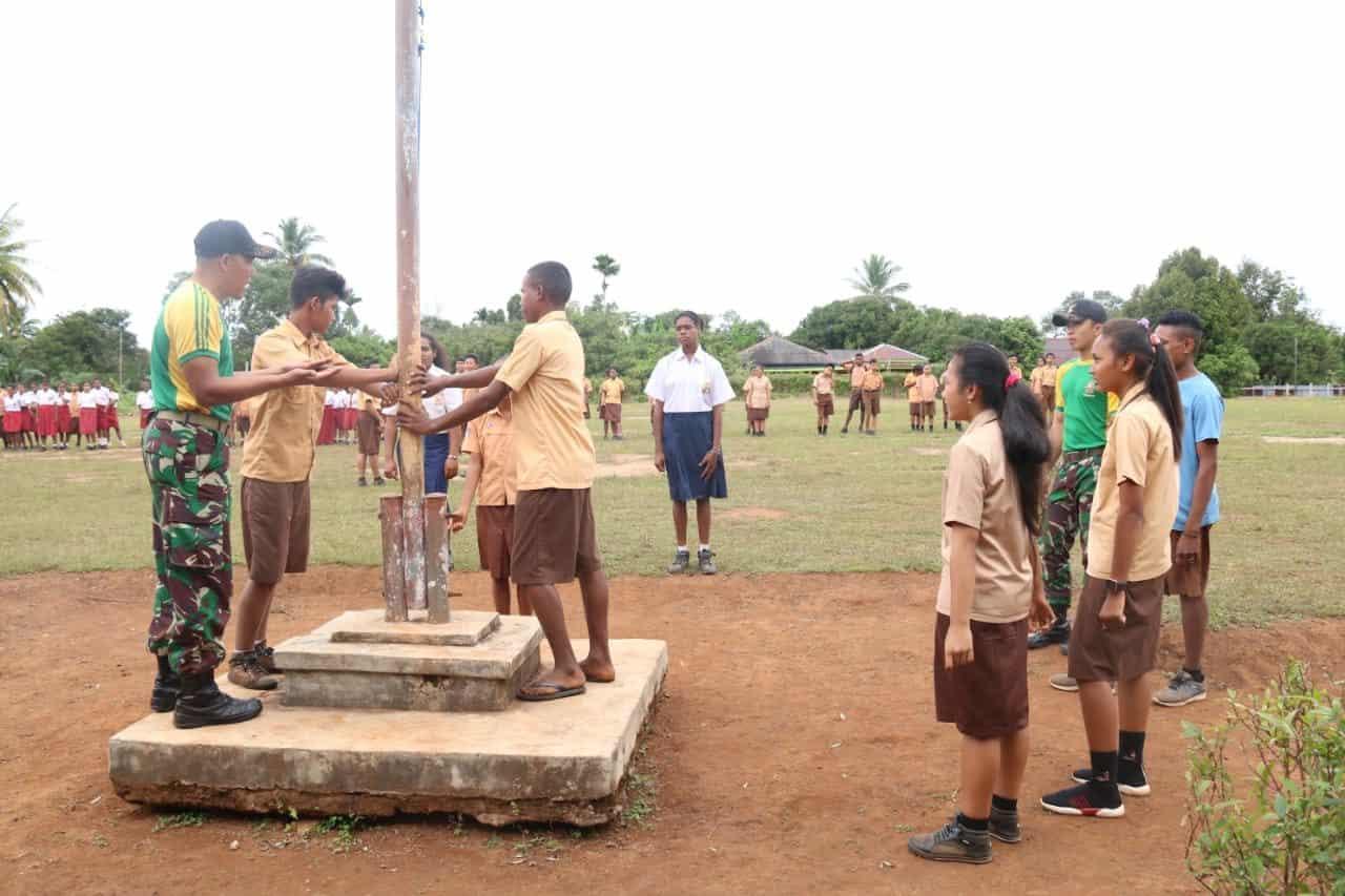 Latih PBB Pelajar SMP, Satgas Yonif MR 411 Bangun Karakter Generasi Muda Papua