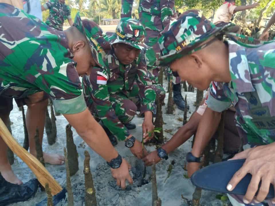 Lestarikan Pantai Nualaran, Satgas Yonif 142 Tanam 1.000 Mangrove
