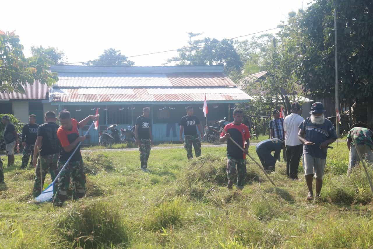 Peduli Kesehatan, Satgas Pamtas Yonif R 300 Gerakkan Sabtu Bersih Lingkungan
