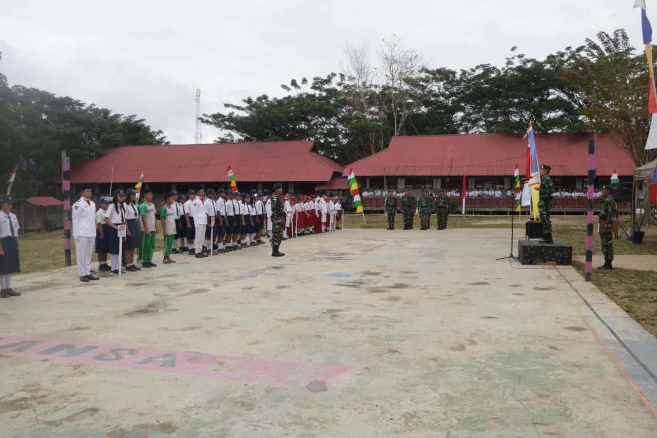 Meriahkan HUT ke-74 TNI, Satgas Pamtas Yonif R 303 Gelar Lomba Antar Pelajar Se-Mahulu