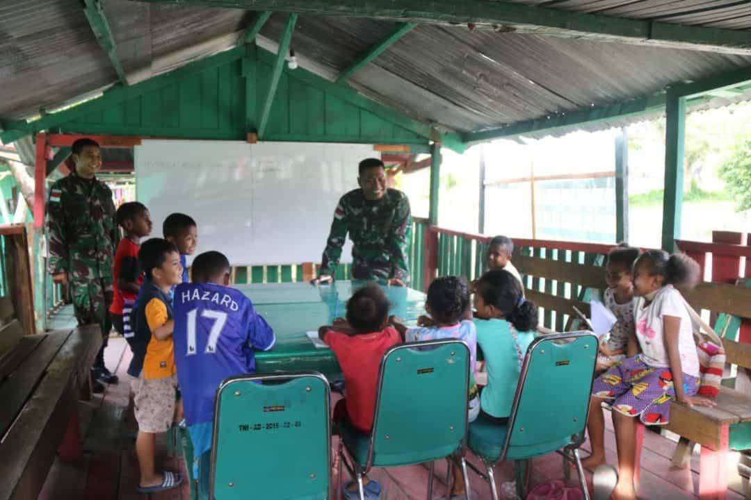 Rumah Belajar Cakra, Solusi Yonif 509 Turut Cerdaskan Anak Papua di Perbatasan RI-PNG