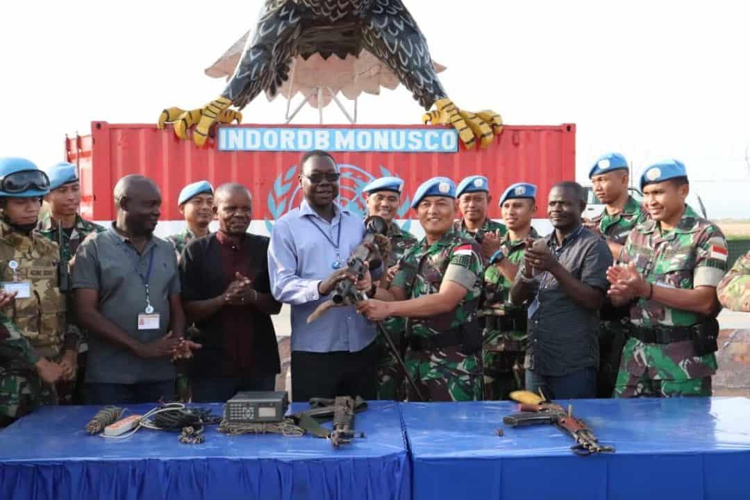 Operasi Sadar-02 Satgas RDB MONUSCO, Kombatan Serahkan Senjata dan Radio Batalyon Benin