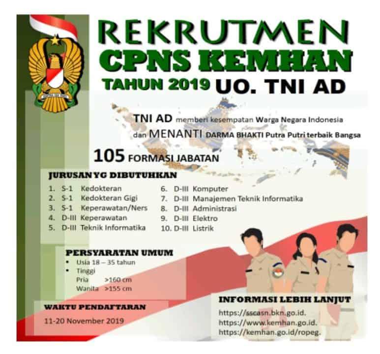 Akan dibuka Penerimaan CPNS Kemhan U.O TNI AD Tahun 2019