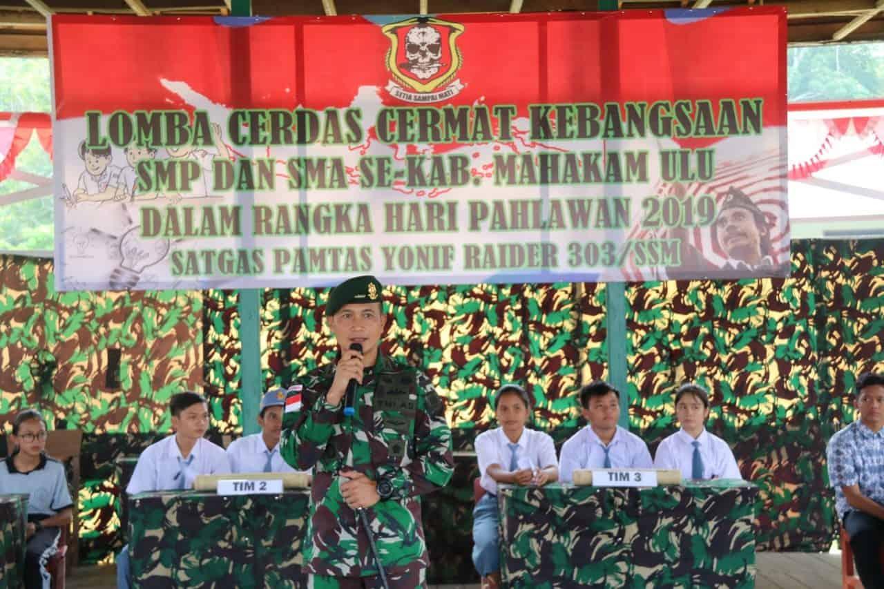 Hormati Pahlawan, Satgas Pamtas Yonif Raider 303/SSM Gelar Cerdas Cermat