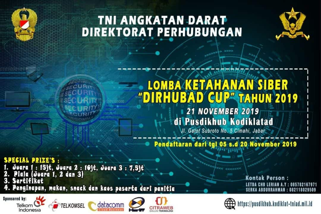 "Lomba Ketahanan Siber ""Dirhubad Cup'' Tahun 2019"