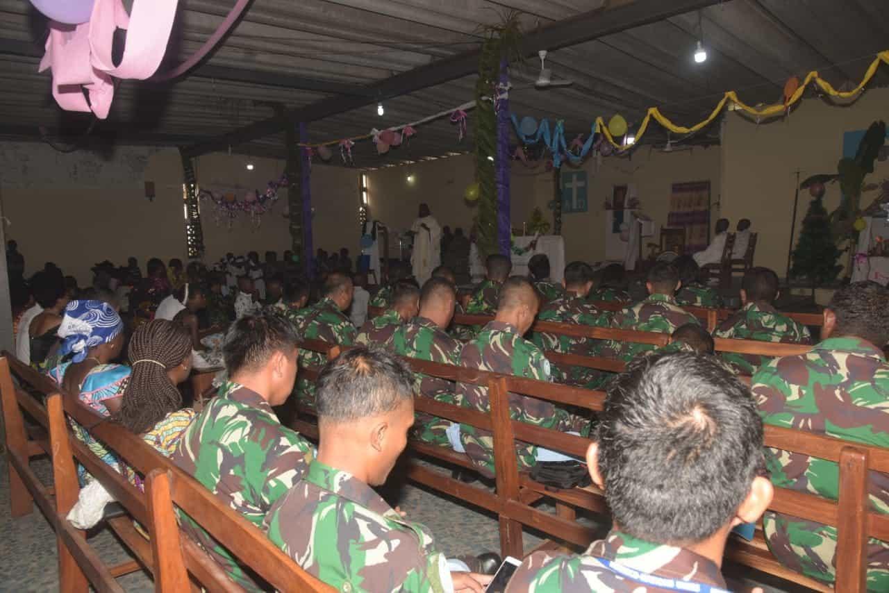 Bangun Kebersamaan dan Toleransi, Satgas Indo RDB MONUSCO Rayakan Natal bersama Warga Kongo