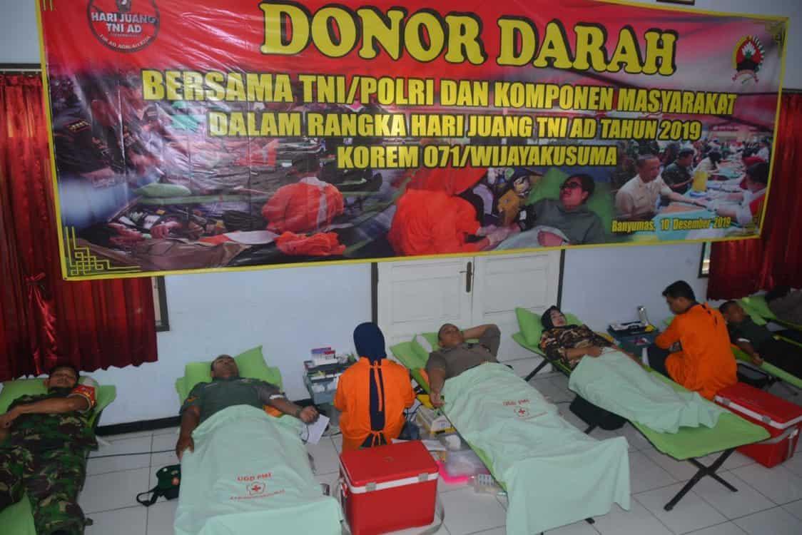 Rangkaian Peringatan Hari Juang TNI AD, Korem 071/WK Gelar Donor Darah