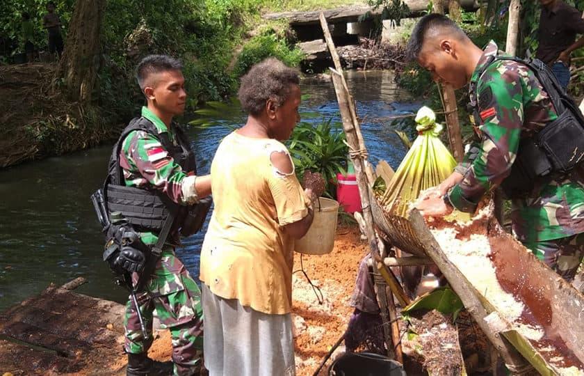 Diversifikasi Sagu, Satgas Yonif 755 Tingkatkan Ketahanan Pangan Papua