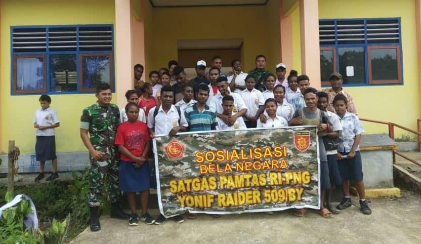 Satgas Pamtas Yonif R 509 Sosialisasikan Bela Negara di Distrik Web