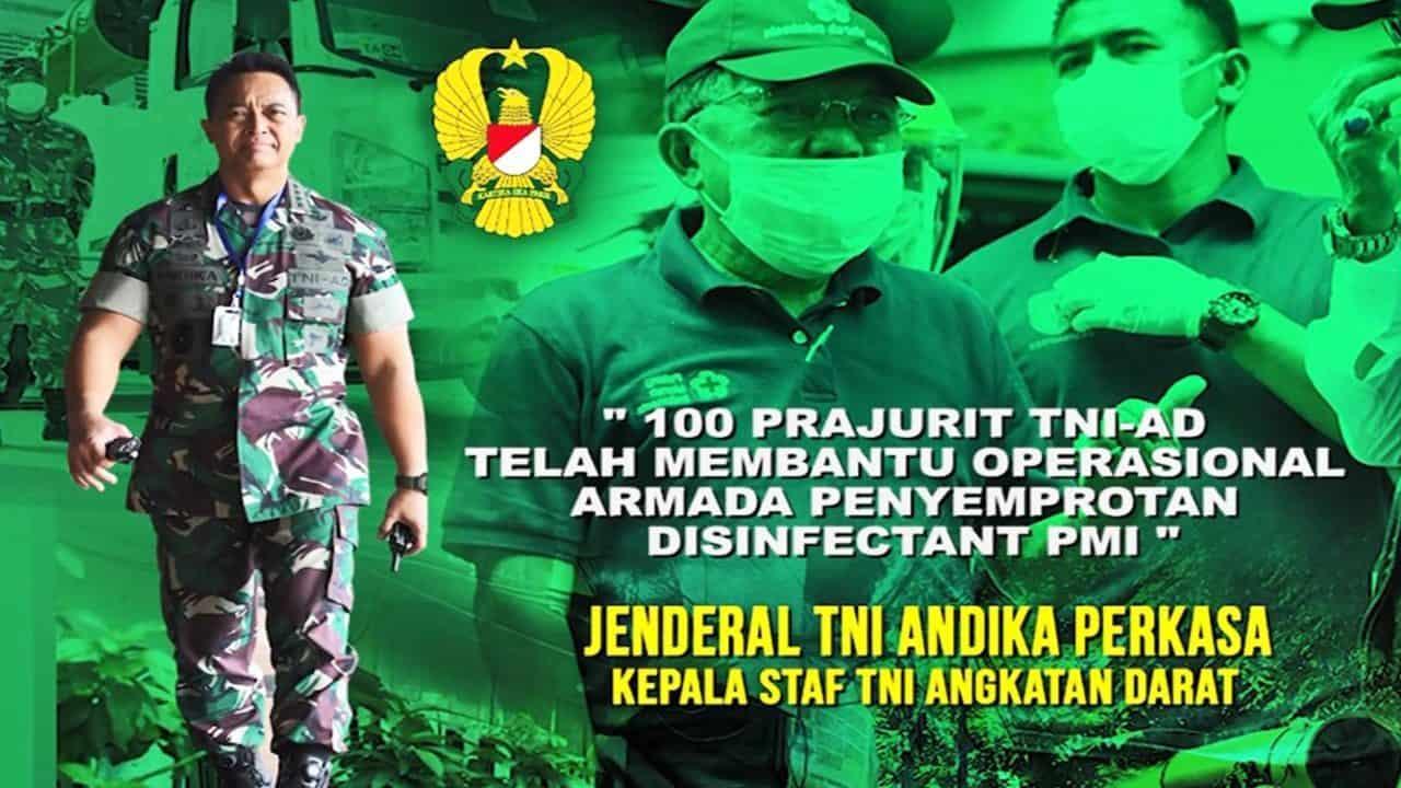 Operasi Penyemprotan TNI AD Bersama PMI Dalam Upaya Sterilisasi