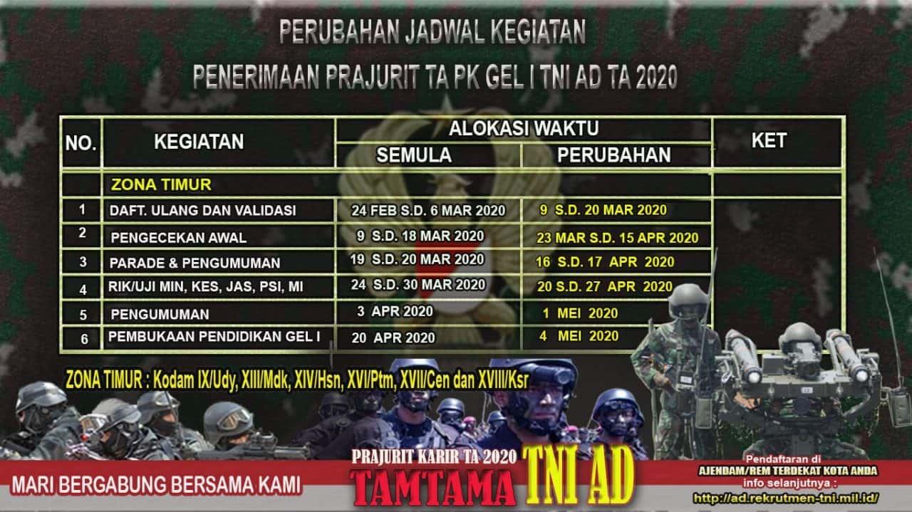 Perubahan Jadwal Kegiatan Penerimaan Prajurit TA. PK Gel I TNI AD TA 2020
