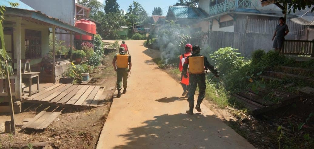Perangi Covid-19 di Wiltas, Satgas Yonif 133 Disinfektan Tiga Desa