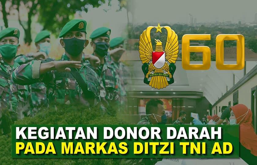 """Prajurit Ditziad Turut Serta Donorkan Darahnya di PMI I 60"""" TNI AD"""