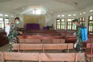 Sinergi Lintas Sektoral, Satgas Yonif 411 Disinfektan Sota