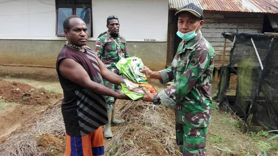 Bibit Sayur, Satgas Yonif 406 Tingkatkan Ekonomi Warga Papua