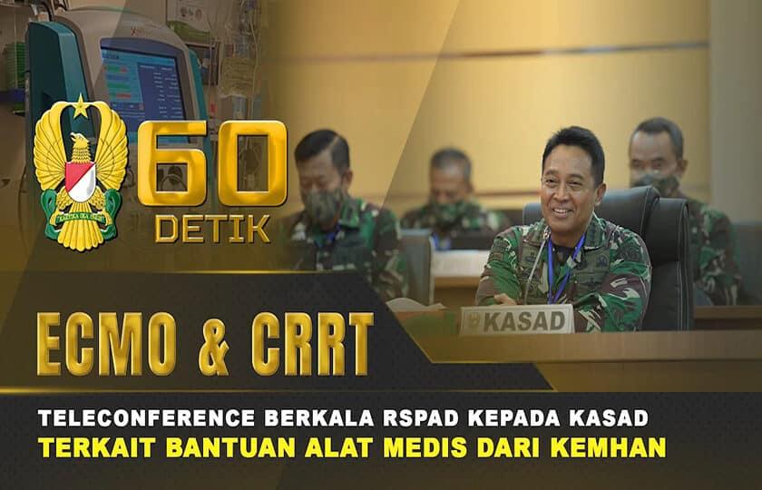 Teleconference Kasad Bersama RSPAD Terkait Bantuan Alat Medis Dari Kemhan I 60″ TNI AD