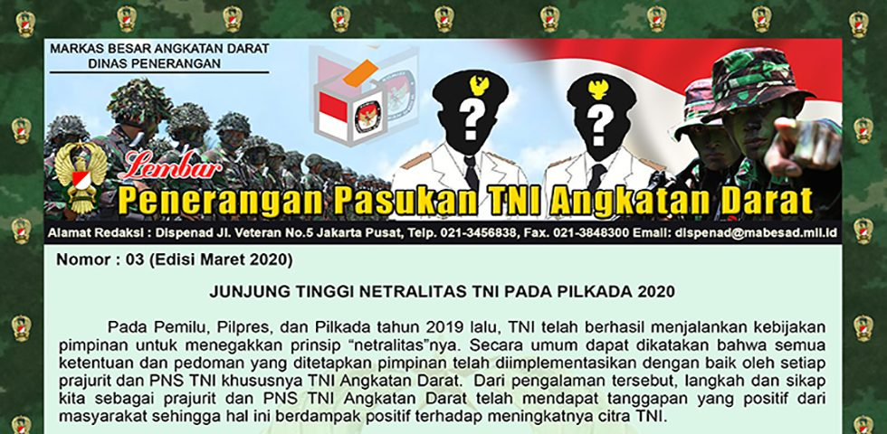 Junjung Tinggi Netralitas TNI pada Pilkada 2020