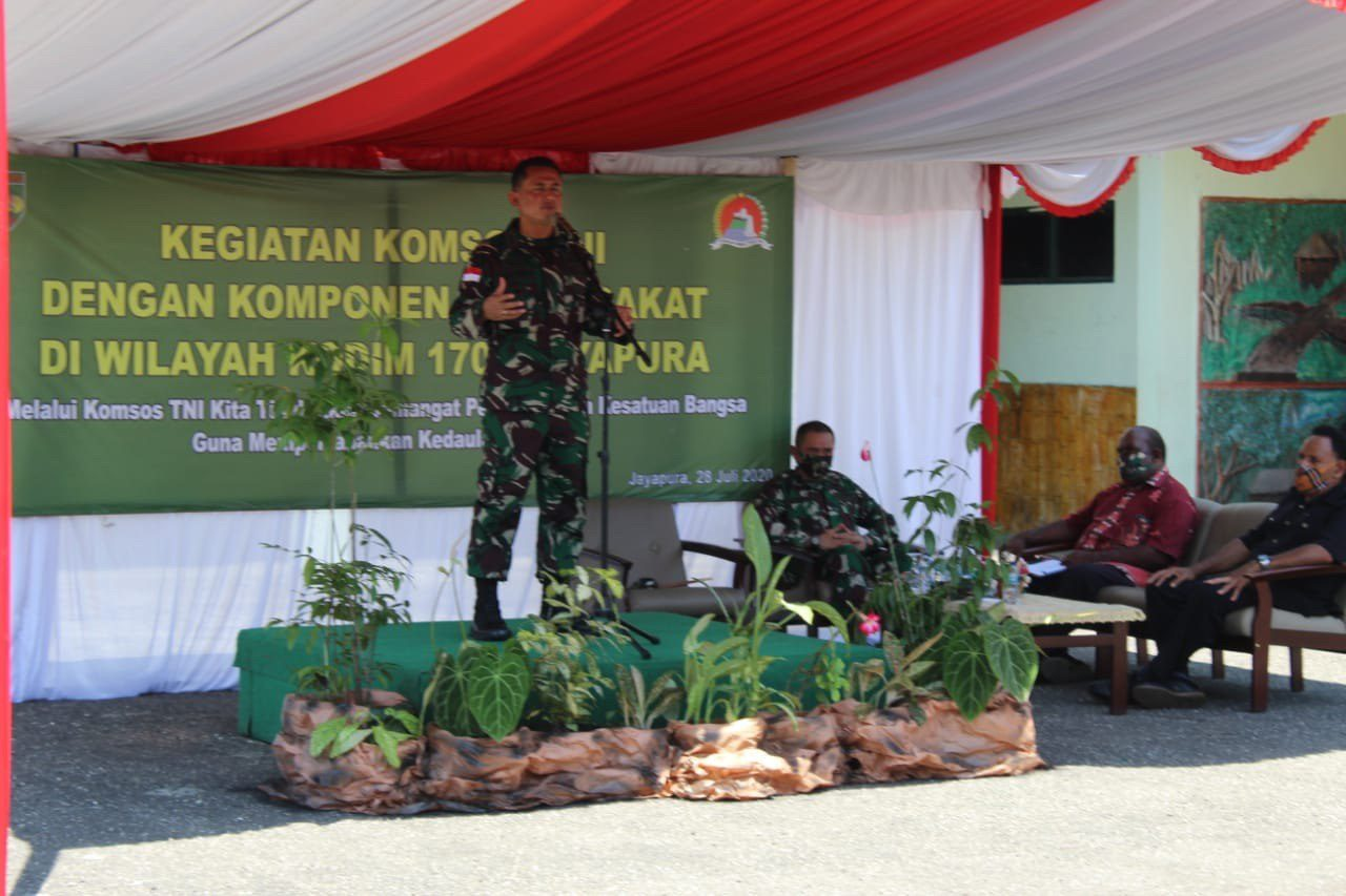 Kodim 1701/Jayapura Sosialisasikan Pencegahan Covid-19 Melalui Komsos