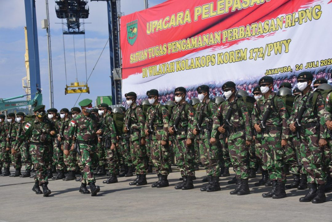 Dankolaksops Korem 172/PWY Lepas 3 Batalyon Satgas Pamtas RI-PNG yang Purna Tugas