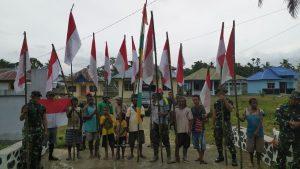 Tumbuhkan Cinta Tanah Air, Satgas Pamtas Raider 100/PS Gelar Kerja Bakti Sambut Perayaan HUT ke-75 RI