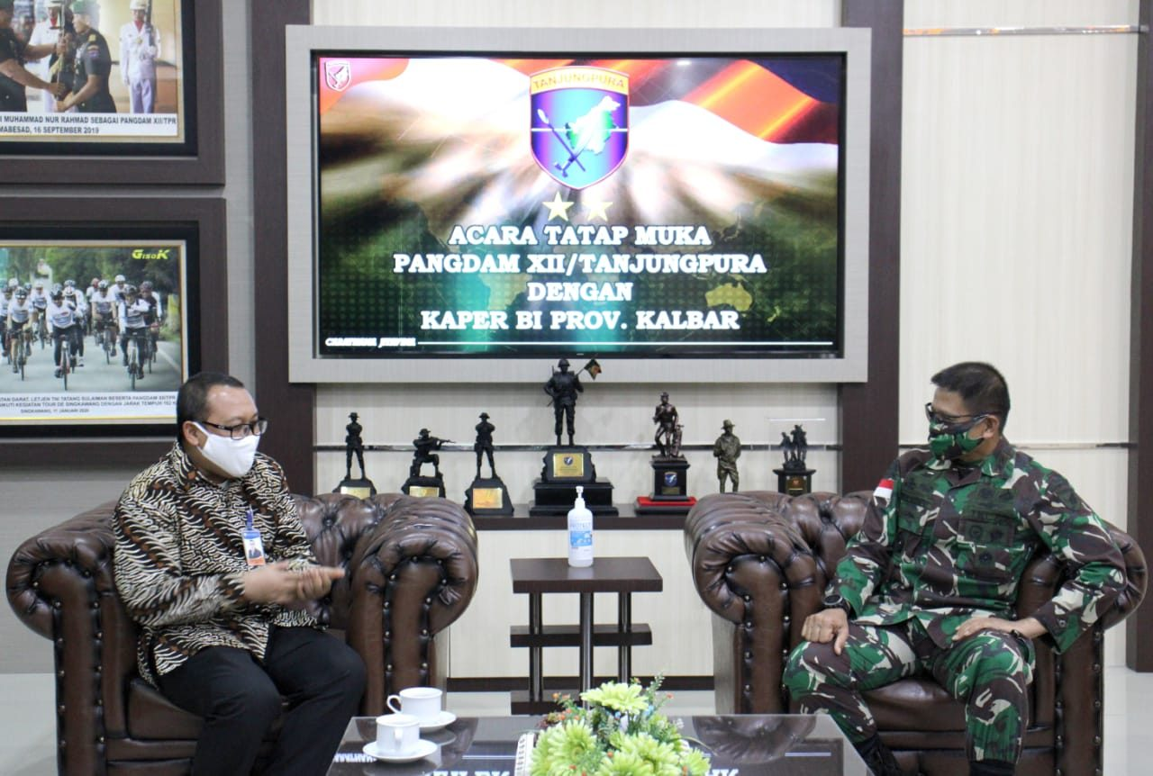 Tingkatkan Kerja Sama, Pangdam XII/Tpr Terima Kepala Perwakilan BI Kalbar