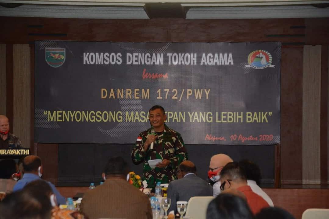 Wujudkan Papua Tanah yang Damai, Korem 172 Gelar Pertemuan Dengan Tokoh Gereja Se-Jayapura