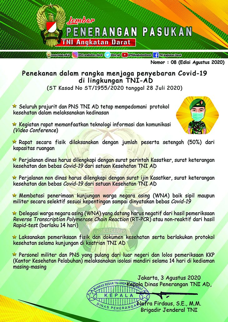 Penekanan dalam Rangka Menjaga Penyebaran Covid-19 di Lingkungan TNI-AD