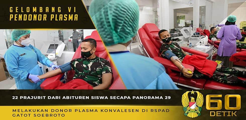 22 Prajurit Abituren Siswa Secapa Panorama 29 Melakukan Donor Plasma Konvalesen