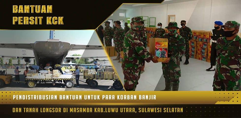 Pendistribusian Bantuan Kasad dan Ketum Persit KCK kepada Korban Bencana Alam di Luwu Utara