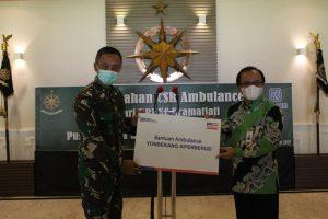 BRI Berikan Bantuan Mobil Ambulans Kepada Yonbekang-5/Perbekud