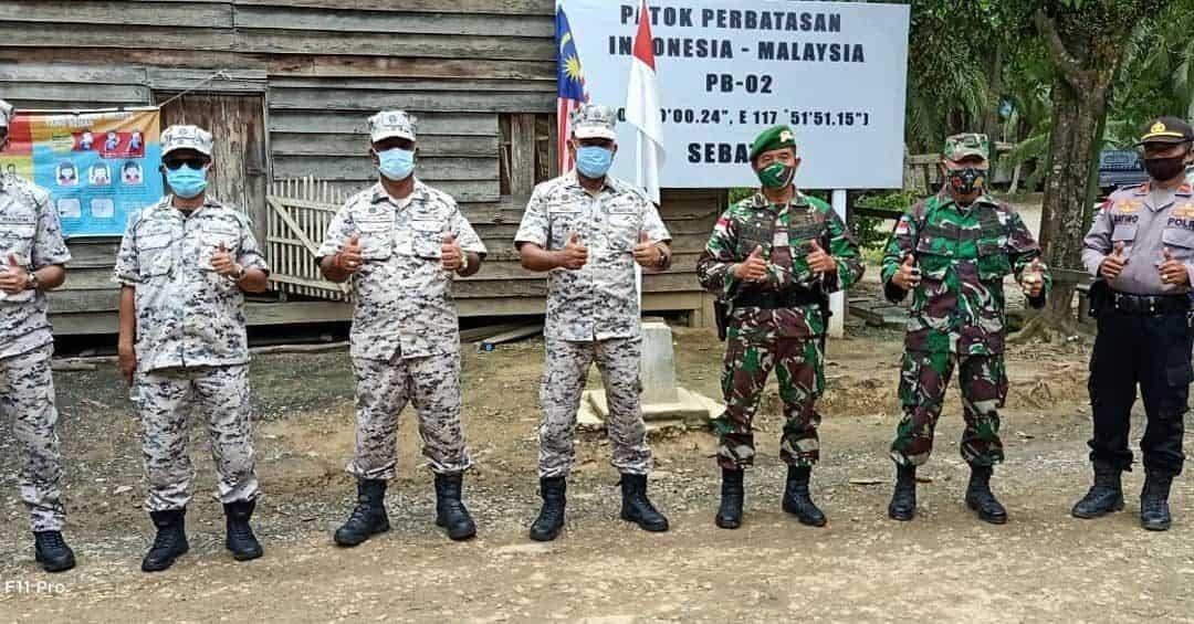 Satgas Yonif 623 Dampingi Lawatan Kepala Maritim Negeri Sabah ke Patok PB.02
