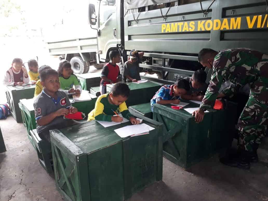 Satgas Yonif 623/BWU Sulap Garasi Truk Jadi Ruang Belajar Anak-Anak Nunukan