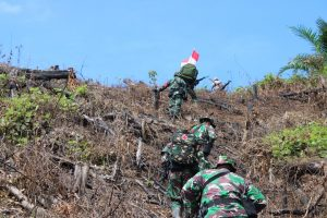 Pastikan Batas Wilayah Negara, Satgas Pamtas Yonif 407/PK Patroli Patok