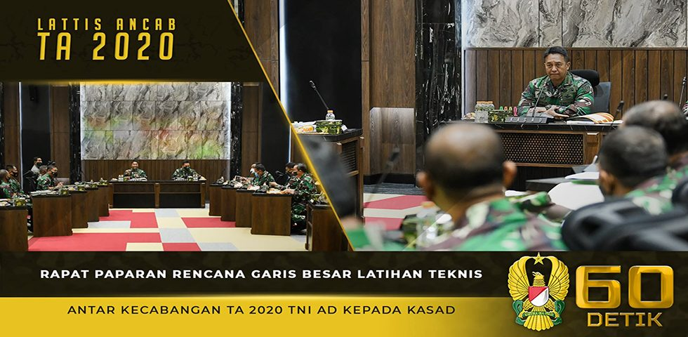 "Kasad Melaksanakan Rapat Paparan Rencana Garis Besar Lattis Ancab TA. 2020 ""Kartika Yudha"""