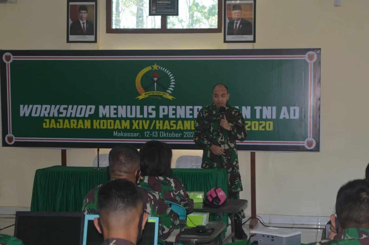 Dispenad Menggelar Workshop Penulisan Berita Penerangan TNI AD Jajaran Kodam XIV/Hasanuddin