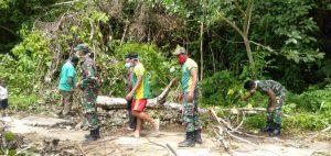 Satgas Yonif Mr 413 Kostrad Bersama Warga Bersihkan Pohon Tumbang Menutupi Jalan