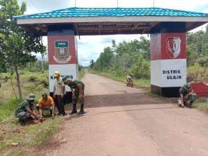 Tingkatkan Keamanan Perbatasan, Satgas Yonif 125 Bangun Portal dan Pos Kamling Kampung Baidub