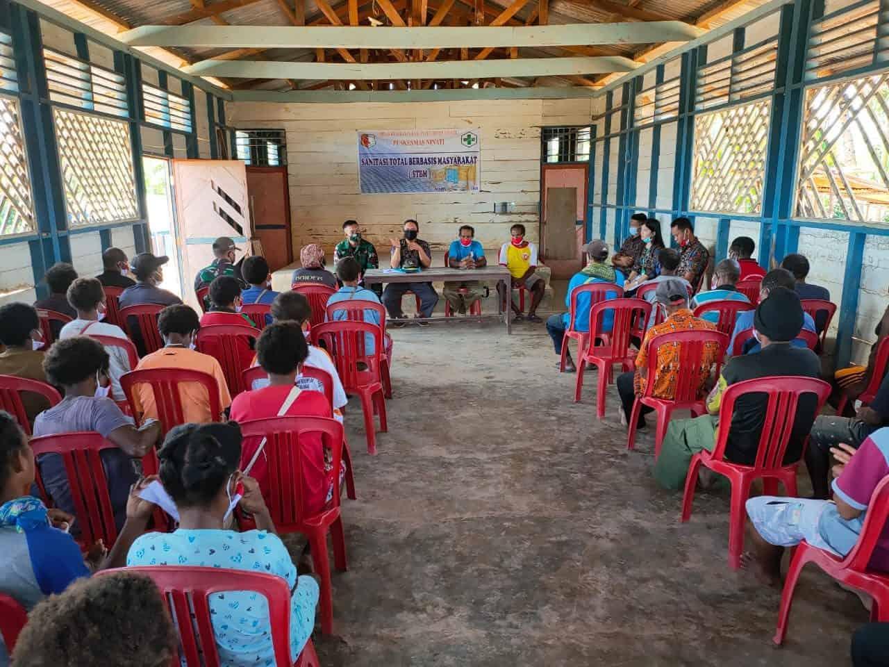 Satgas Yonif Mekanis 516/CY Gandeng Dinas Kesehatan Gelar Penyuluhan Sanitasi Total Berbasis Masyarakat