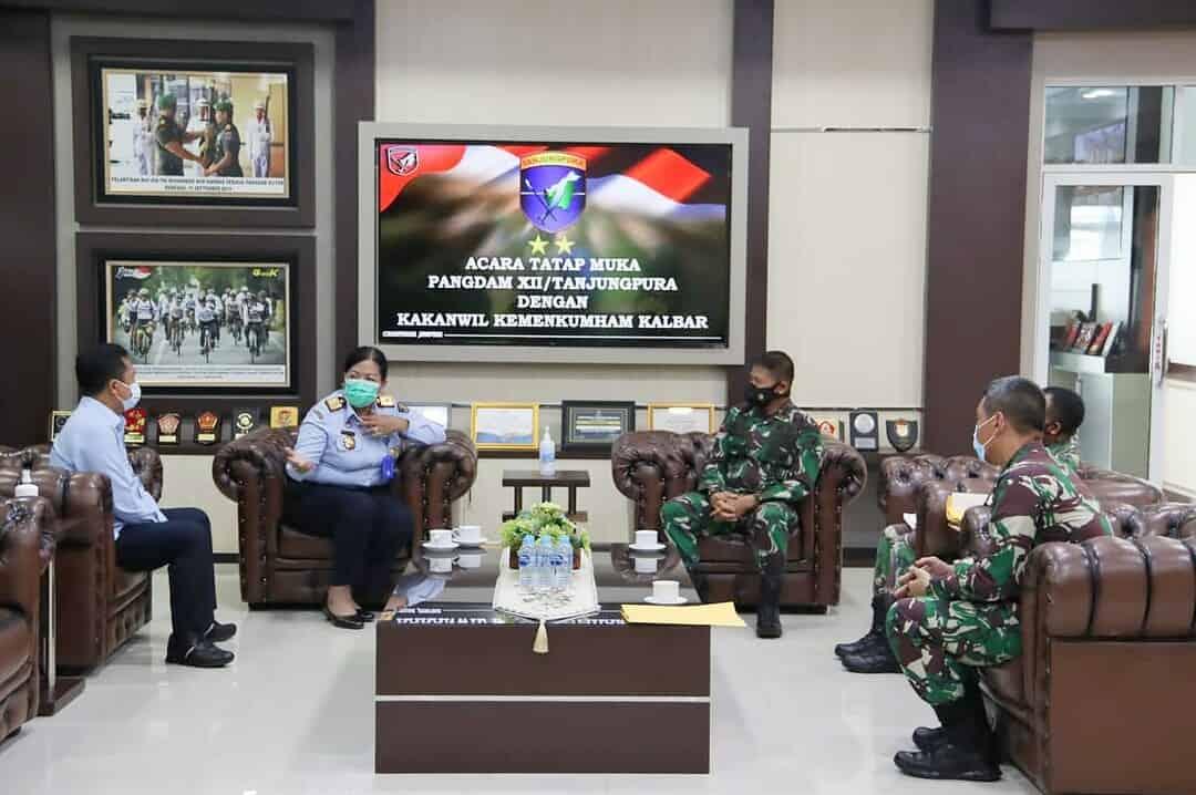Tingkatkan Kerja Sama, Pangdam XII/TPR Terima Kunjungan Kakanwil Kemenkumham Kalbar