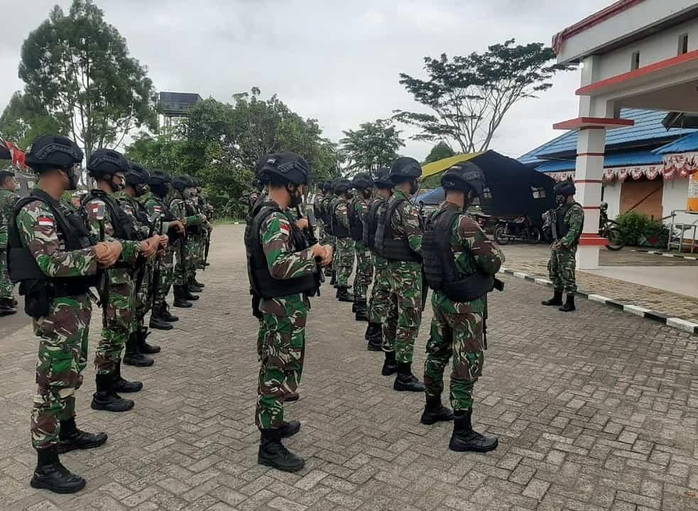 Satgas Pamtas Yonif Mekanis 516/CY Gelar Pasukan Amankan Pilkada Boven Digoel